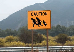 Immigration border sign